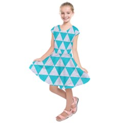 Triangle3 White Marble & Turquoise Colored Pencil Kids  Short Sleeve Dress