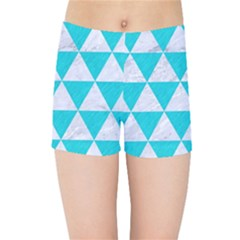 Triangle3 White Marble & Turquoise Colored Pencil Kids Sports Shorts