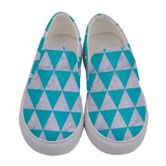 Triangle3 White Marble & Turquoise Colored Pencil Women s Canvas Slip Ons