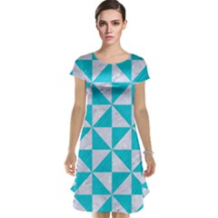 Triangle1 White Marble & Turquoise Colored Pencil Cap Sleeve Nightdress