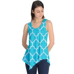 Tile1 White Marble & Turquoise Colored Pencil Sleeveless Tunic