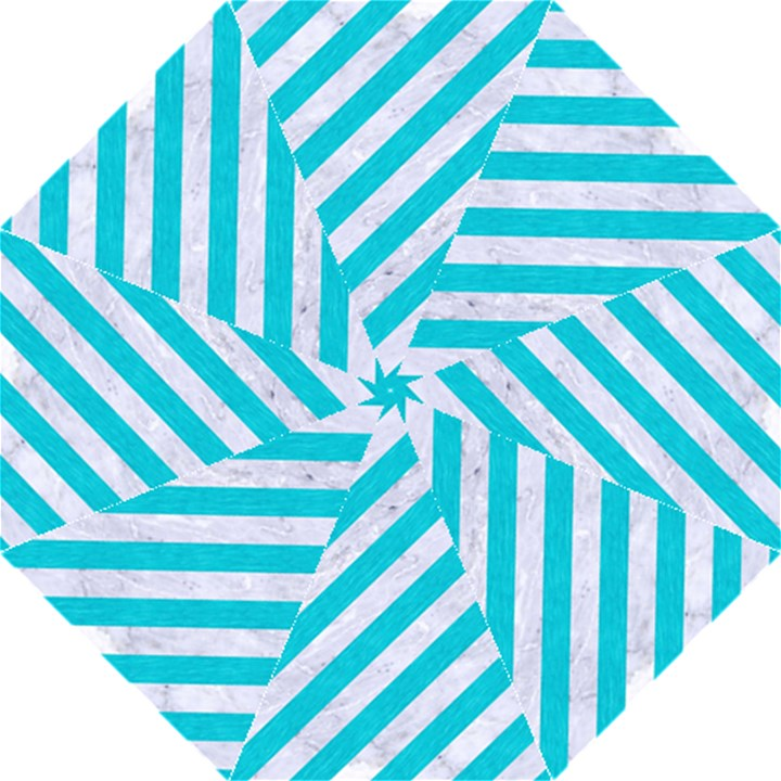 STRIPES3 WHITE MARBLE & TURQUOISE COLORED PENCIL (R) Folding Umbrellas
