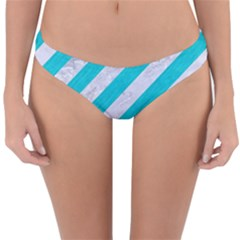 Stripes3 White Marble & Turquoise Colored Pencil (r) Reversible Hipster Bikini Bottoms