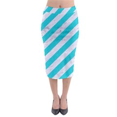 Stripes3 White Marble & Turquoise Colored Pencil (r) Midi Pencil Skirt