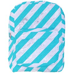 Stripes3 White Marble & Turquoise Colored Pencil (r) Full Print Backpack