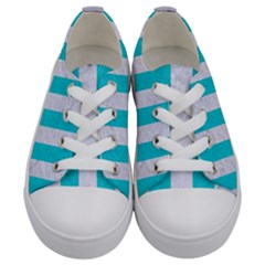 Stripes1 White Marble & Turquoise Colored Pencil Kids  Low Top Canvas Sneakers