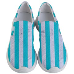 Stripes1 White Marble & Turquoise Colored Pencil Women s Lightweight Slip Ons