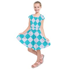 Square2 White Marble & Turquoise Colored Pencil Kids  Short Sleeve Dress