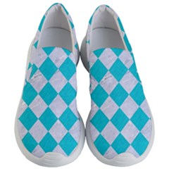 Square2 White Marble & Turquoise Colored Pencil Women s Lightweight Slip Ons