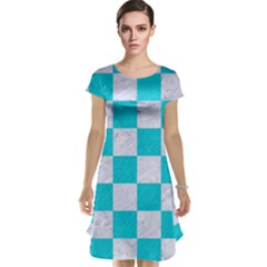 Square1 White Marble & Turquoise Colored Pencil Cap Sleeve Nightdress
