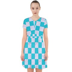 Square1 White Marble & Turquoise Colored Pencil Adorable In Chiffon Dress