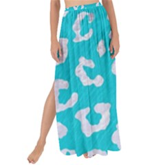 Skin5 White Marble & Turquoise Colored Pencil (r) Maxi Chiffon Tie Up Sarong