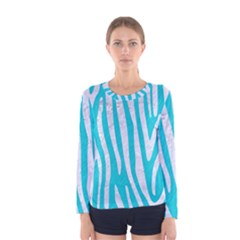 Skin4 White Marble & Turquoise Colored Pencil (r) Women s Long Sleeve Tee