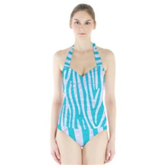 Skin4 White Marble & Turquoise Colored Pencil (r) Halter Swimsuit