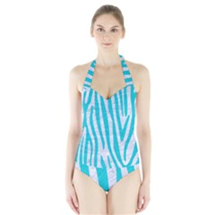 Skin4 White Marble & Turquoise Colored Pencil Halter Swimsuit