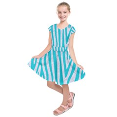 Skin4 White Marble & Turquoise Colored Pencil Kids  Short Sleeve Dress