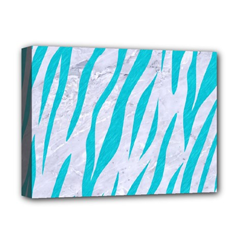 Skin3 White Marble & Turquoise Colored Pencil (r) Deluxe Canvas 16  X 12