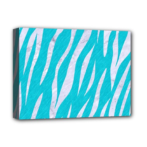 Skin3 White Marble & Turquoise Colored Pencil Deluxe Canvas 16  X 12