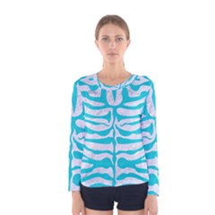 Skin2 White Marble & Turquoise Colored Pencil (r) Women s Long Sleeve Tee