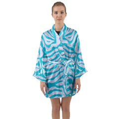 Skin2 White Marble & Turquoise Colored Pencil (r) Long Sleeve Kimono Robe