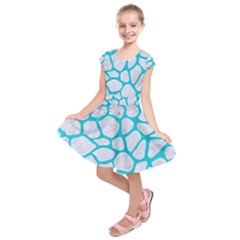 Skin1 White Marble & Turquoise Colored Pencil Kids  Short Sleeve Dress