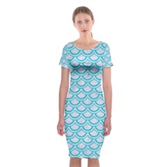 Scales2 White Marble & Turquoise Colored Pencil (r) Classic Short Sleeve Midi Dress