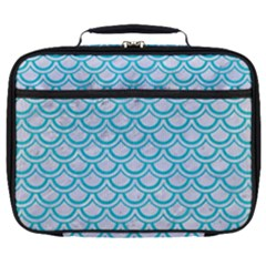 Scales2 White Marble & Turquoise Colored Pencil (r) Full Print Lunch Bag