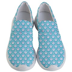 Scales2 White Marble & Turquoise Colored Pencil (r) Women s Lightweight Slip Ons