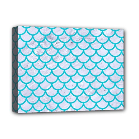 Scales1 White Marble & Turquoise Colored Pencil (r) Deluxe Canvas 16  X 12