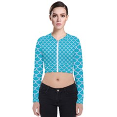 Scales1 White Marble & Turquoise Colored Pencil Bomber Jacket
