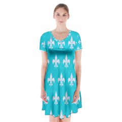 Royal1 White Marble & Turquoise Colored Pencil (r) Short Sleeve V Neck Flare Dress
