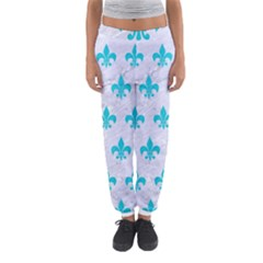 Royal1 White Marble & Turquoise Colored Pencil Women s Jogger Sweatpants