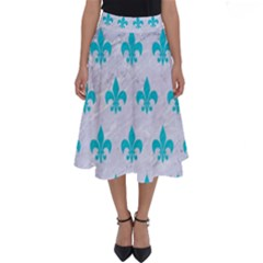 Royal1 White Marble & Turquoise Colored Pencil Perfect Length Midi Skirt