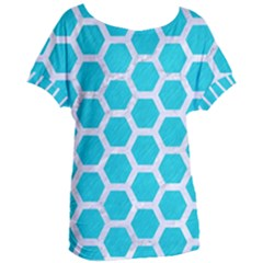 Hexagon2 White Marble & Turquoise Colored Pencil Women s Oversized Tee