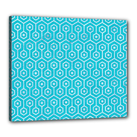 Hexagon1 White Marble & Turquoise Colored Pencil Canvas 24  X 20