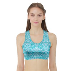 Damask2 White Marble & Turquoise Colored Pencil Sports Bra With Border
