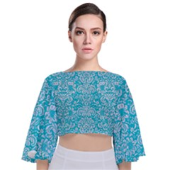 Damask2 White Marble & Turquoise Colored Pencil Tie Back Butterfly Sleeve Chiffon Top