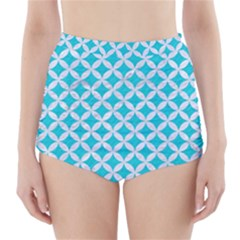 Circles3 White Marble & Turquoise Colored Pencil High Waisted Bikini Bottoms