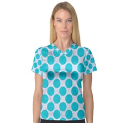 Circles2 White Marble & Turquoise Colored Pencil (r)encil (r) V Neck Sport Mesh Tee
