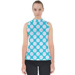 Circles2 White Marble & Turquoise Colored Pencil Shell Top