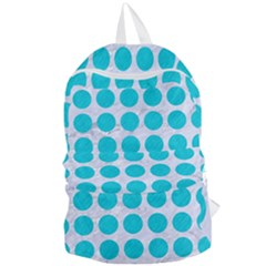 Circles1 White Marble & Turquoise Colored Pencil (r) Foldable Lightweight Backpack