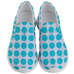 Circles1 White Marble & Turquoise Colored Pencil (r) Men s Lightweight Slip Ons
