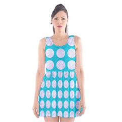 Circles1 White Marble & Turquoise Colored Pencil Scoop Neck Skater Dress