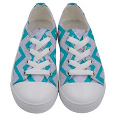 Chevron9 White Marble & Turquoise Colored Pencil (r) Kids  Low Top Canvas Sneakers