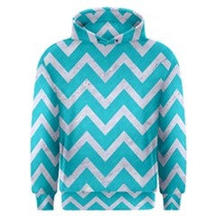 Chevron9 White Marble & Turquoise Colored Pencil Men s Overhead Hoodie