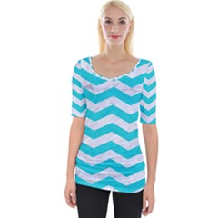 Chevron3 White Marble & Turquoise Colored Pencil Wide Neckline Tee