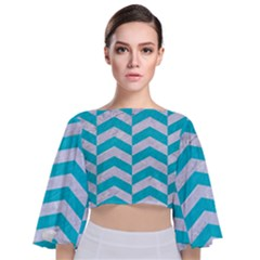 Chevron2 White Marble & Turquoise Colored Pencil Tie Back Butterfly Sleeve Chiffon Top