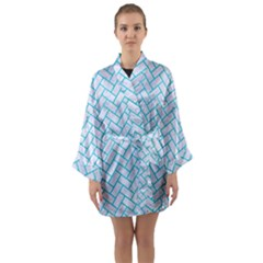 Brick2 White Marble & Turquoise Colored Pencil (r) Long Sleeve Kimono Robe