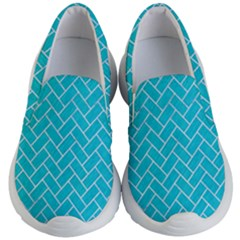 Brick2 White Marble & Turquoise Colored Pencil Kid s Lightweight Slip Ons