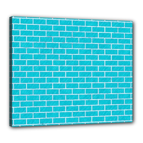 Brick1 White Marble & Turquoise Colored Pencil Canvas 24  X 20